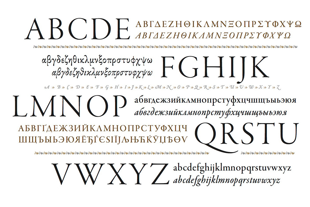 An artistic display of the alphabet in English and other languages, fonts and size.
