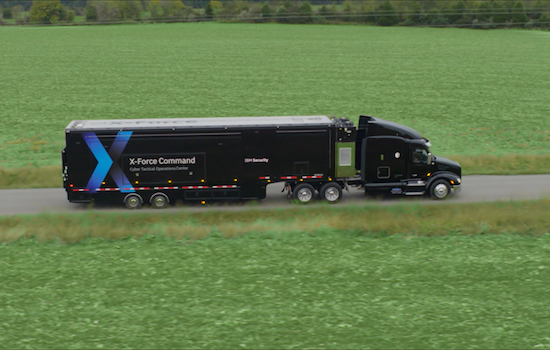 large black semitruck with text X-Force Command on the side.